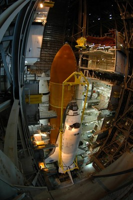 Space Shuttle Discovery being mated to Solid Rocket Boosters and External Tank
