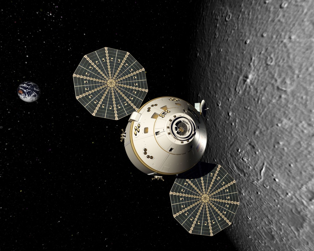 Orion orbits the moon with disc-shaped solar arrays tracking the sun to generate electricity. Image Credit: Lockheed Martin Corp.