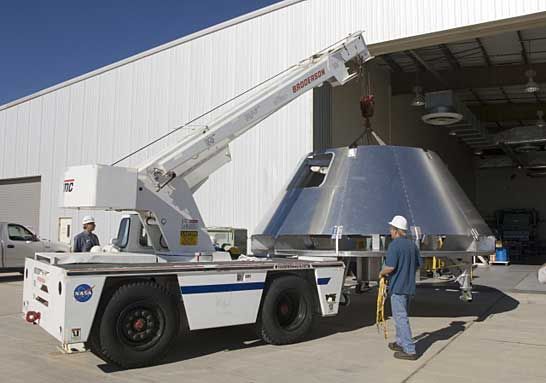 A mockup Orion crew module.