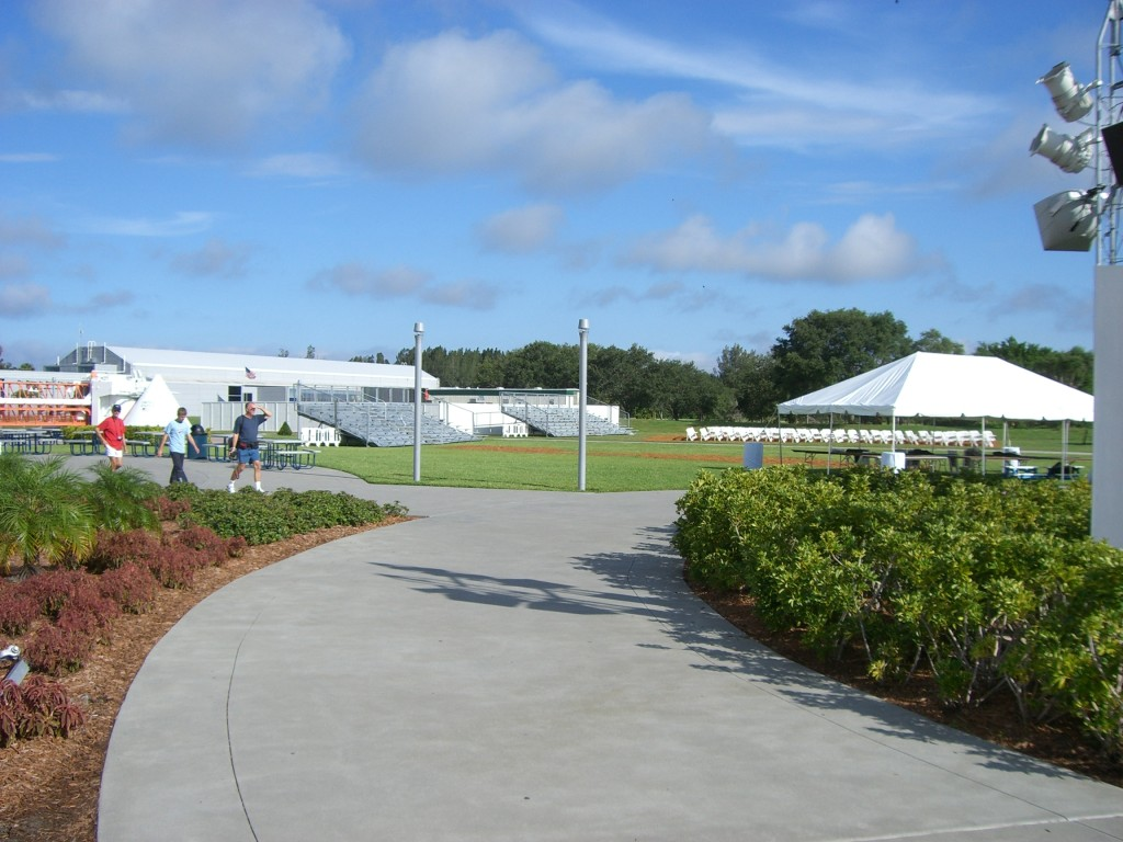 This is a picture of the setup of Kennedy Space Center's main complex. Here, people without launch transportation tickets can view shuttle launches.  Note the setup of benches and other temporary facilities. This picture was taken on  launch scrub day in summer 2006.