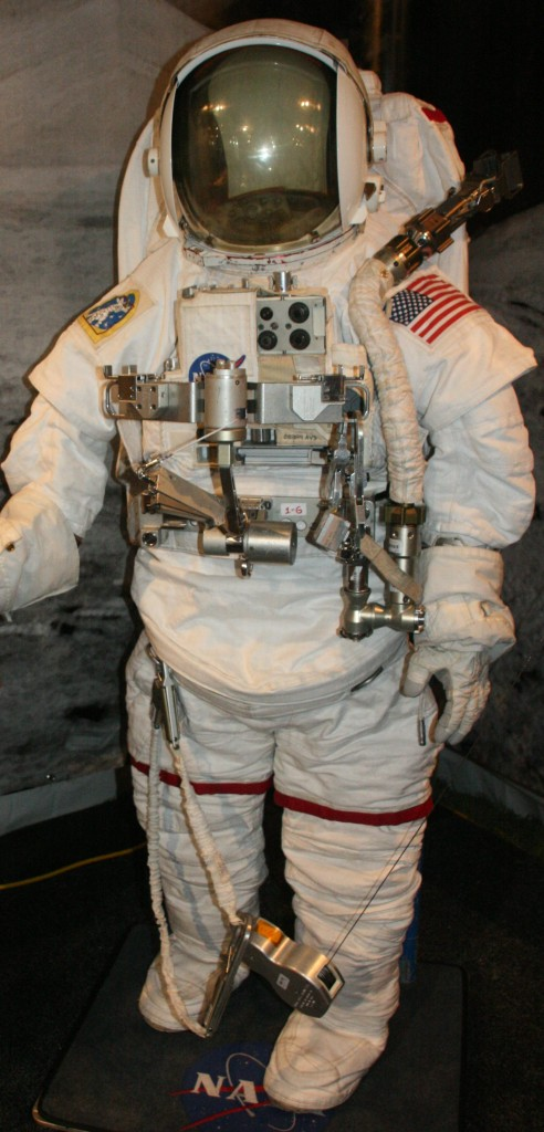 A current 2007 spacesuit as worn by ISS and space shuttle astronauts on EVAs.