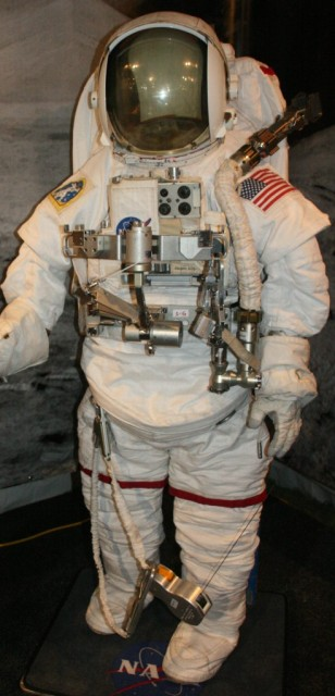 A 2007 spacesuit as worn by astronauts on the iss and space shuttle