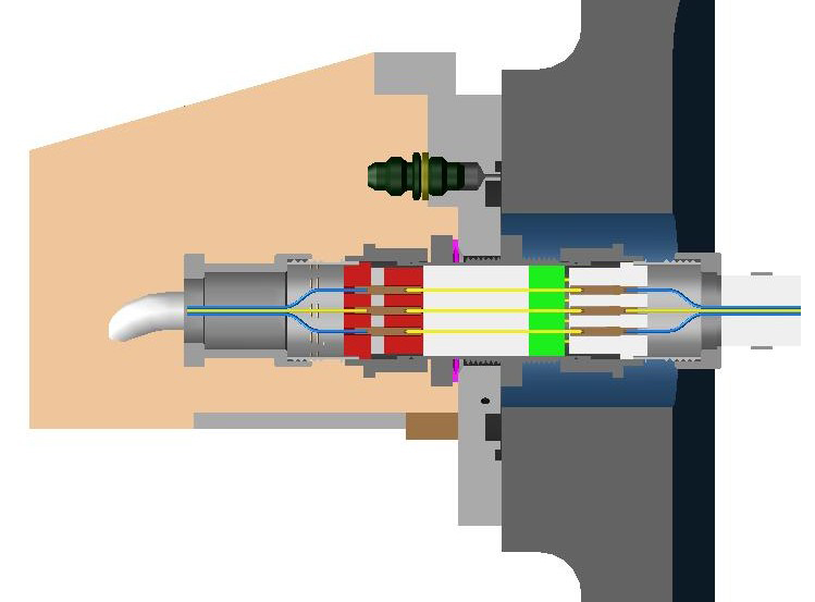 Illustration of feed-through electrical connections at the external tank liquid hydrogen tank structural interface, near the aft end of the tank. Image Credit: NASA/MSFC