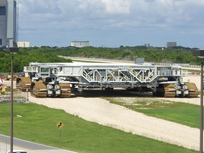 An up-close view of one of Kennedy Space Center's gigantic crawler transporters