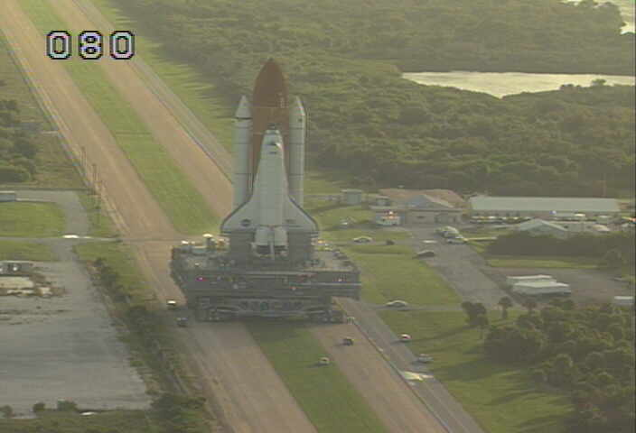 Discovery on the crawlerway - It is now heading to the pad for just over an hour.