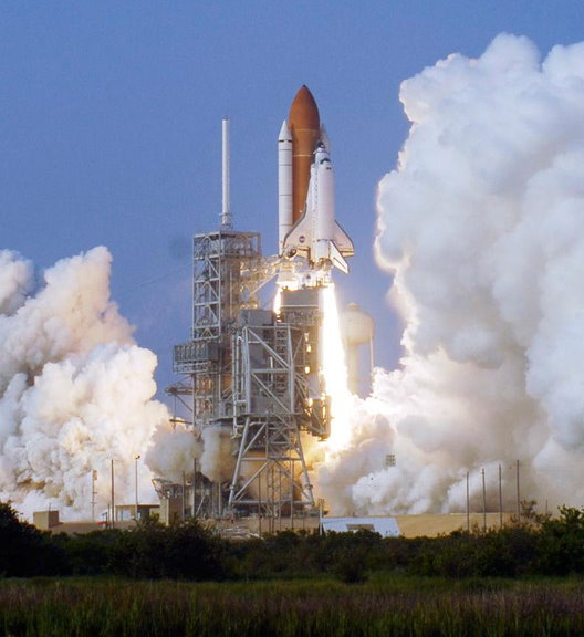 STS-118 launching. Photo Credit: NASA