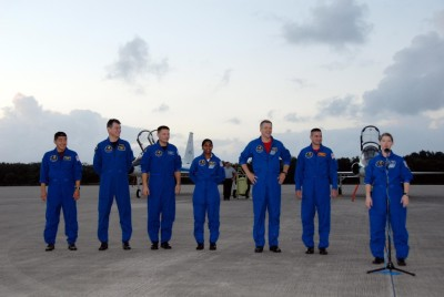 Space Shuttle Discovery's crew arrives at Kennedy Space Center (STS-120 mision)
