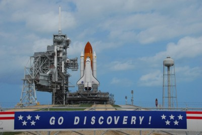 Space Shuttle Discovery at the launch pad is ready to go