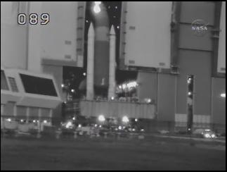 Discovery begins rollout from the VAB. Source NASA TV.