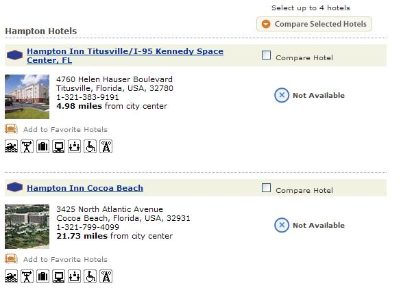 Titusville Hotel Reservation for launch day...