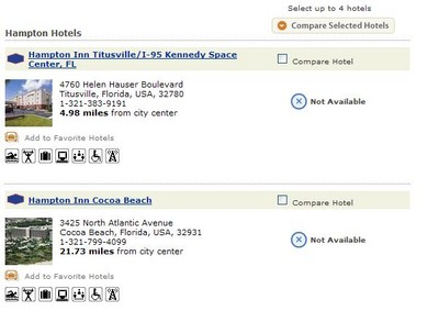 A typical view of Titusville hotel reservation before launch day - unavailable ;)
